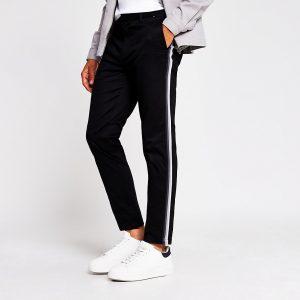 River Island Mens Black tape side skinny chino trousers