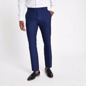 River Island Mens Bright blue slim fit suit trousers