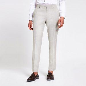 River Island Mens Ecru linen skinny suit trousers