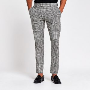 River Island Mens Grey check skinny fit smart trousers