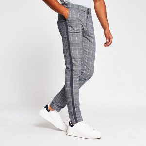 River Island Mens Grey check tape side skinny trousers