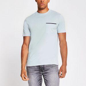 River Island Mens Grey slim fit short sleeve pocket T-shirt