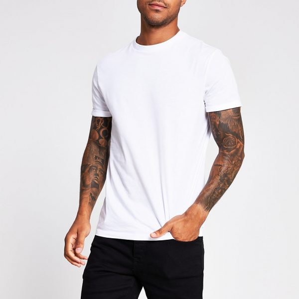 River Island Mens White slim fit roll sleeve T-shirt