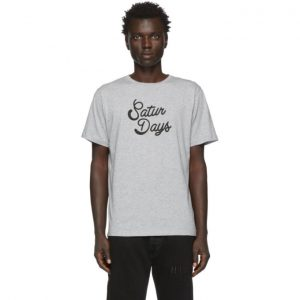 Saturdays NYC Grey Round Script T-Shirt