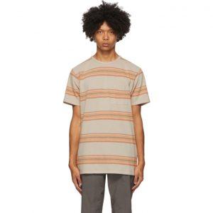 Saturdays NYC Khaki Stripe Randall Pocket T-Shirt