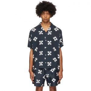 Saturdays NYC Navy Floral Canty Ikat Shirt