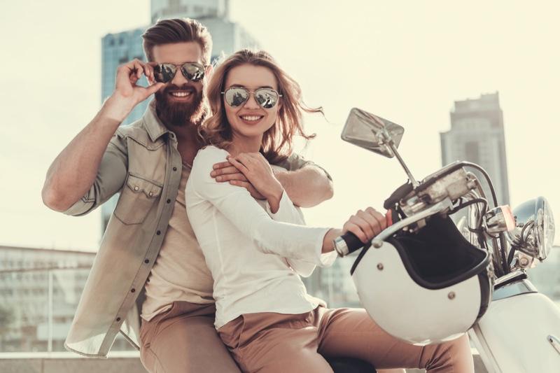 Smiling Couple Bike Sunglasses Outfit Fashion