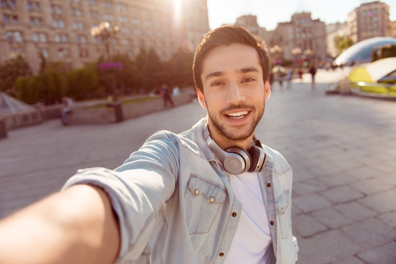 Smiling Man Selfie Headphones