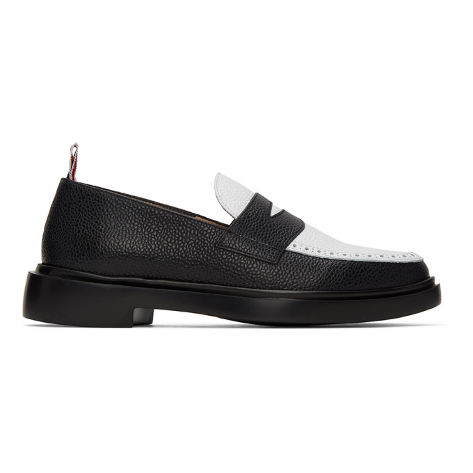 Thom Browne Black and White Penny Loafers | The Fashionisto