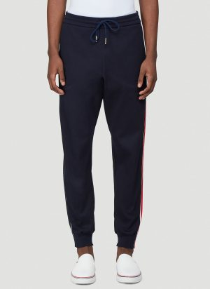 Thom Browne Striped-Side Tapered Track Pants in Blue size JPN - 4