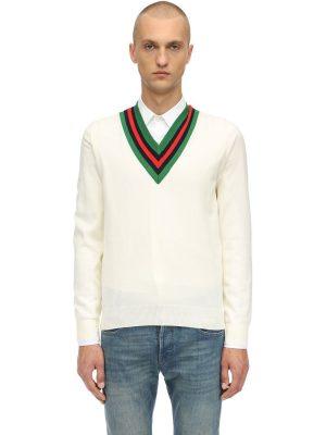 Web V-neck Wool Knit Sweater