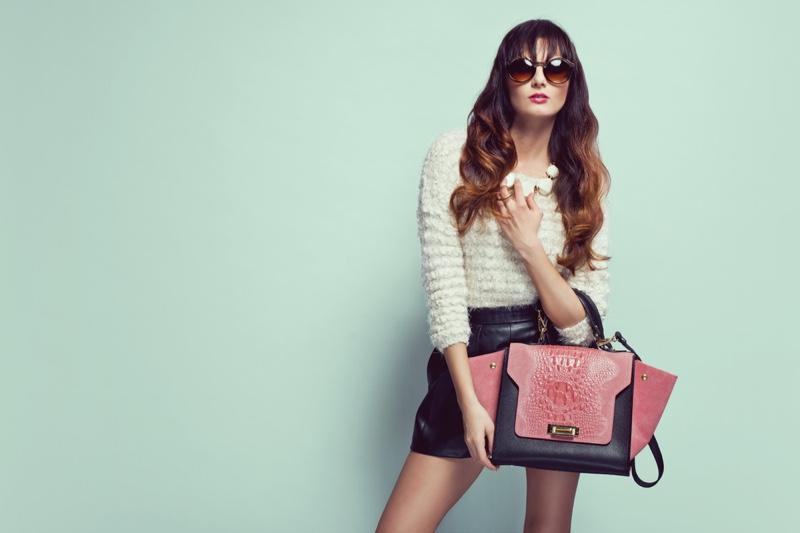 Woman Knit Top Leather Shorts Pink Handbag