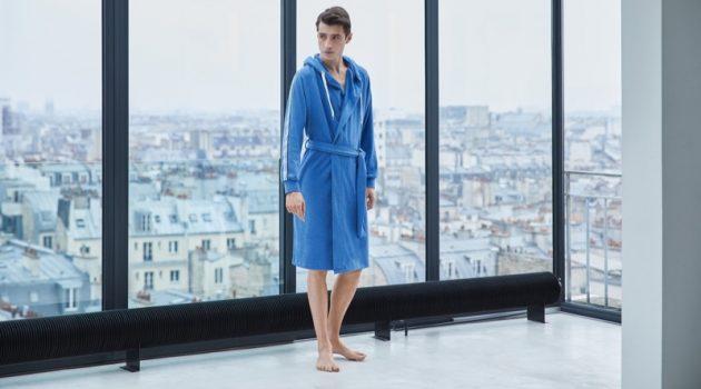 Adrien Sahores dons a blue bathrobe from BOSS.