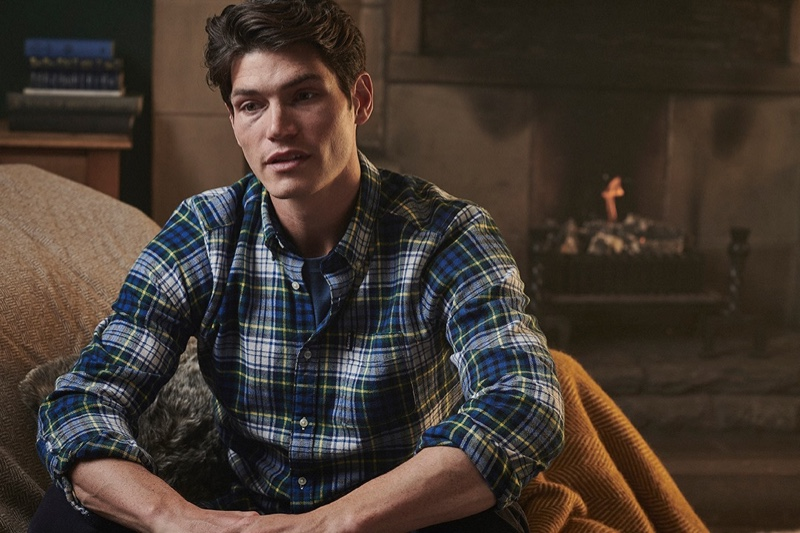 British model Sam Way reunites with Barbour for fall-winter 2020 to showcase its new shirt collection.