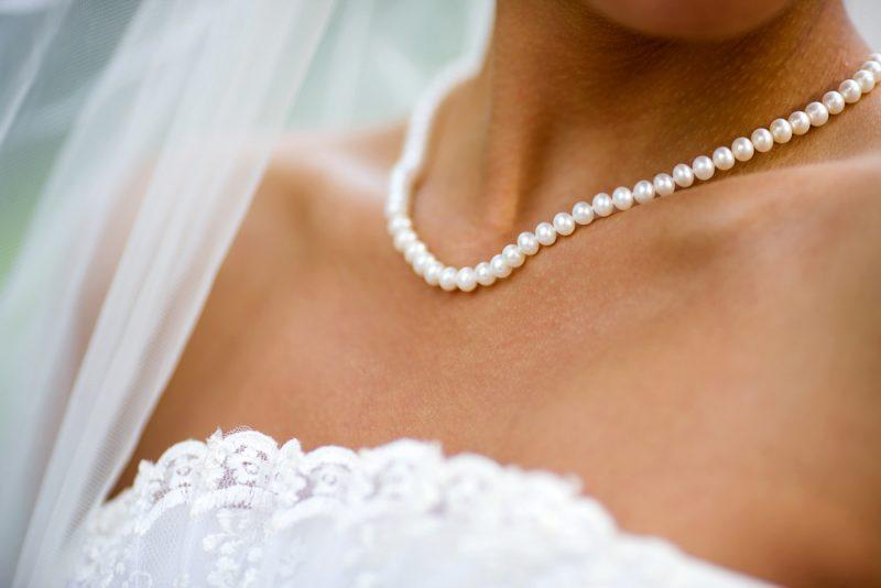 Bride Wearing Pearl Necklace