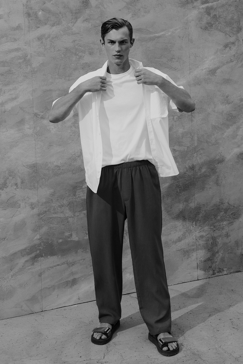 Embracing minimal style, Kit Butler wears COS.