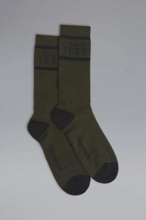 DSQUARED2 Men Ankle socks Dark green Size 5-6 76% Cotton 21% Polyamide 3% Elastane