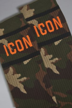 DSQUARED2 Men Ankle socks Military green Size 9-10 76% Cotton 21% Polyamide 3% Elastane