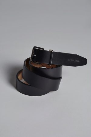 DSQUARED2 Men Belt Black Size 34 100% Calfskin Brass