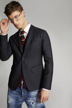 DSQUARED2 Men Blazer Dark blue Size 36 100% Wool