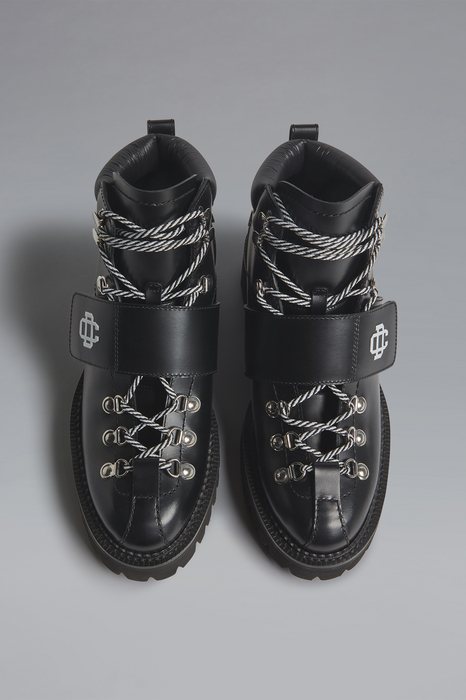 DSQUARED2 Men Boot Black Size 7 80% Calfskin 10% Polyamide 7% Polyester 3% Viscose