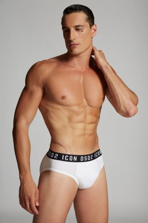 DSQUARED2 Men Brief White Size M 89% Cotton 11% Elastane