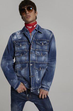 DSQUARED2 Men Denim outerwear Blue Size L 100% Cotton