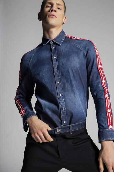 DSQUARED2 Men Denim shirt Blue Size 40 98% Cotton 2% Elastane