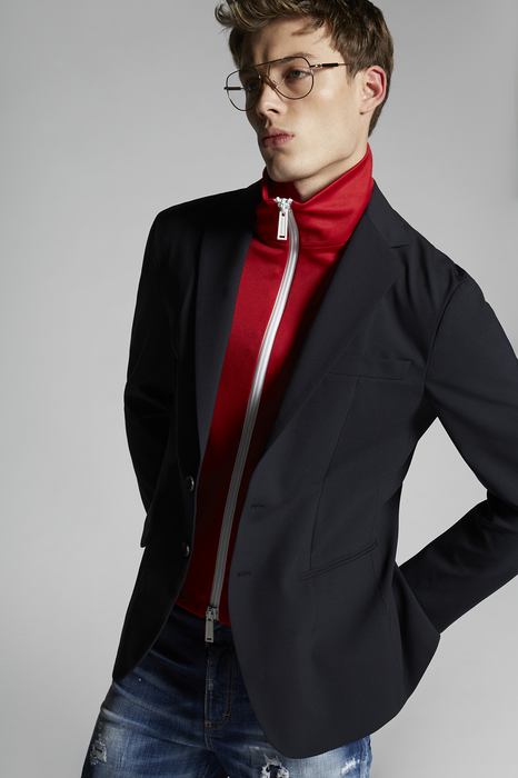 DSQUARED2 Men JACKET/BLAZER Dark blue Size 42 99% Virgin Wool 1% Elastane