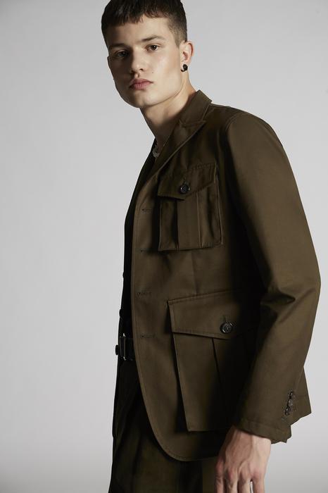 DSQUARED2 Men JACKET/BLAZER Military green Size 44 100% Cotton