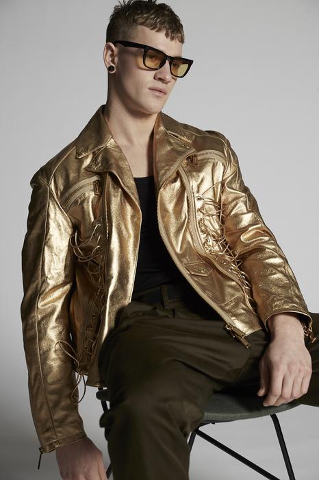 DSQUARED2 Men Jacket Gold Size 38 100% Lambskin
