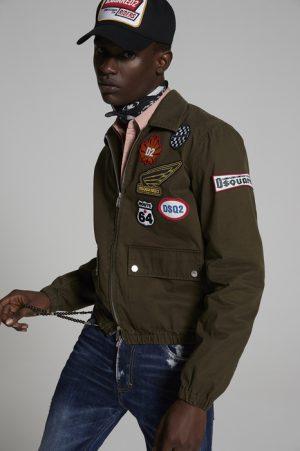 DSQUARED2 Men Kaban Military green Size 34 100% Cotton