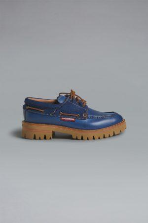 DSQUARED2 Men Lace-Up Blue Size 12 70% Calfskin 30% Cotton