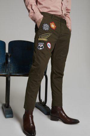 DSQUARED2 Men Pants Military green Size 32 100% Cotton