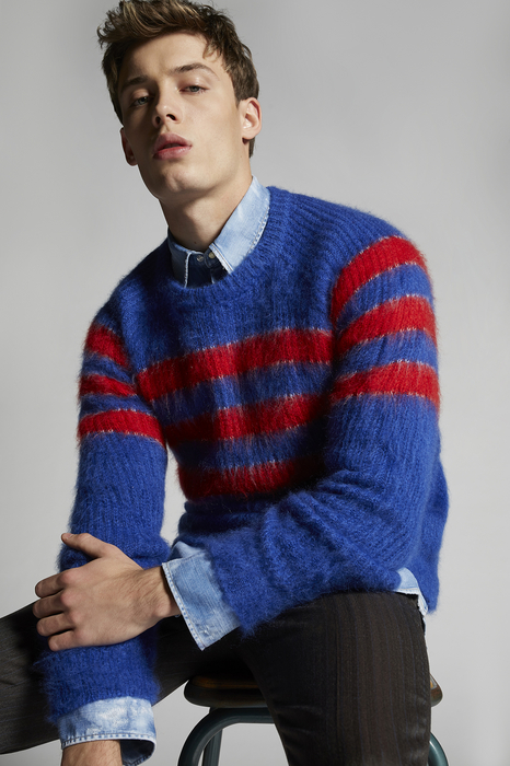 DSQUARED2 Men Pullover Bright blue Size L 66% Mohair wool 30% Polyamide 4% Wool