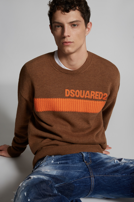 DSQUARED2 Men Pullover Brown Size XXL 100% Virgin Wool