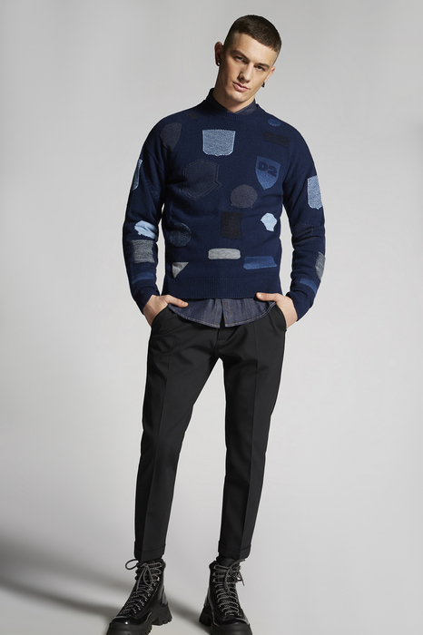 DSQUARED2 Men Pullover Dark blue Size S 82% Wool 12% Cotton 6% Polyester