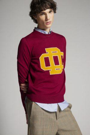 DSQUARED2 Men Pullover Garnet Size L 85% Wool 10% Viscose 3% Polyamide 2% Cashmere