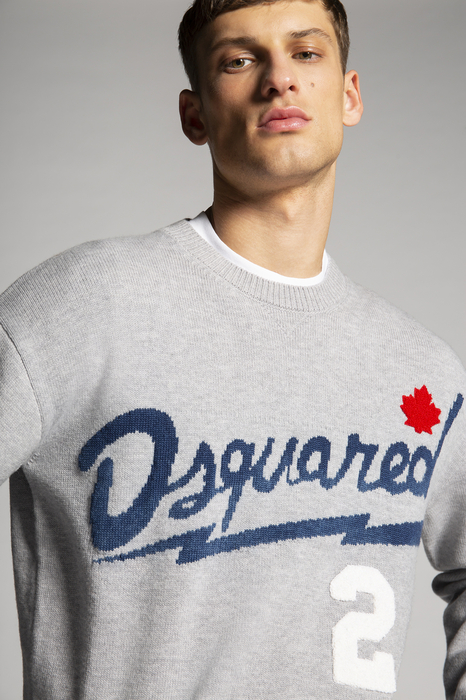 DSQUARED2 Men Pullover Grey Size L 90% Wool 10% Cotton
