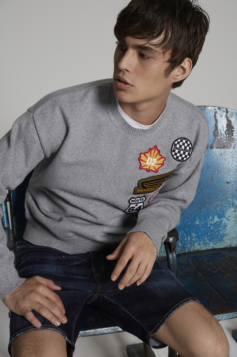 DSQUARED2 Men Pullover Grey Size M 75% Cotton 25% Polyester