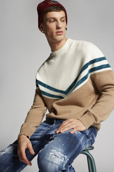 DSQUARED2 Men Pullover Ivory Size S 90% Wool 7% Viscose 3% Polyamide