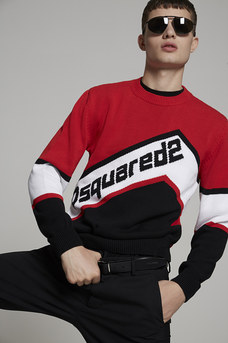 DSQUARED2 Men Pullover Multicoloured Size M 100% Cotton