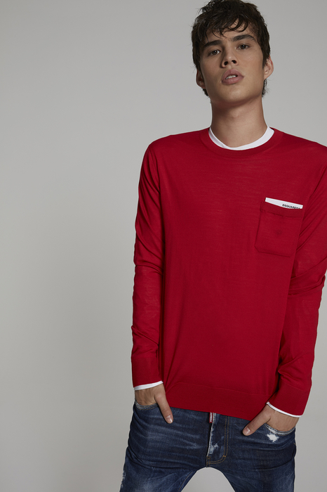 DSQUARED2 Men Pullover Red Size S 100% Wool