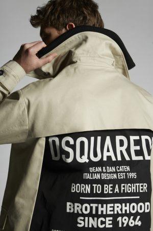 DSQUARED2 Men Raincoat Beige Size 42 100% Cotton