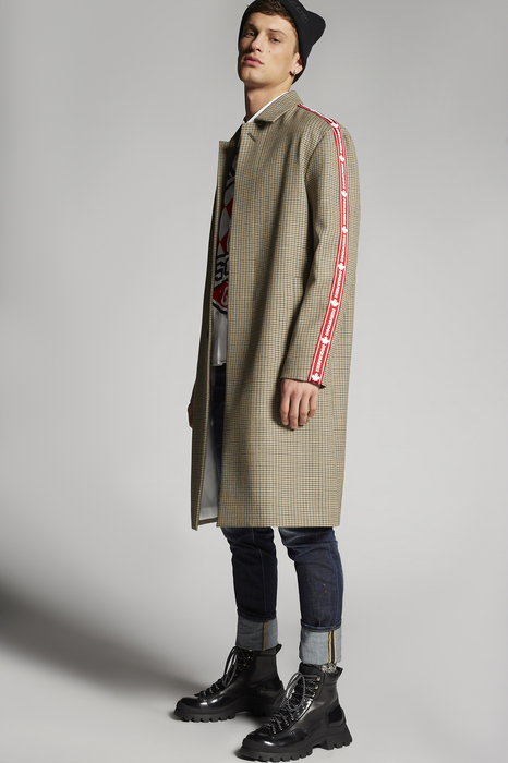 DSQUARED2 Men Raincoat Khaki Size 32 100% Virgin Wool