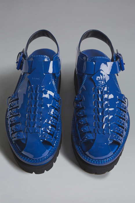 DSQUARED2 Men Sandal Blue Size 9 100% Calfskin
