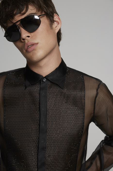 DSQUARED2 Men Shirt Black Size 36 100% Silk