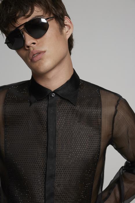 DSQUARED2 Men Shirt Black Size 38 100% Silk
