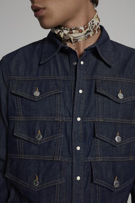 DSQUARED2 Men Shirt Blue Size 34 98% Cotton 2% Elastane