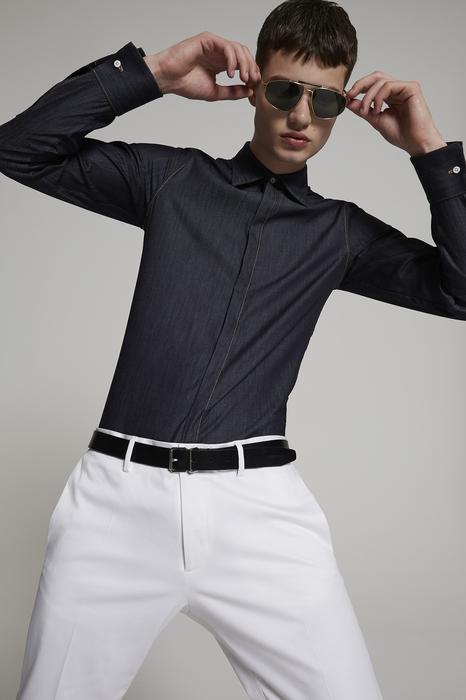 DSQUARED2 Men Shirt Blue Size 46 100% Cotton